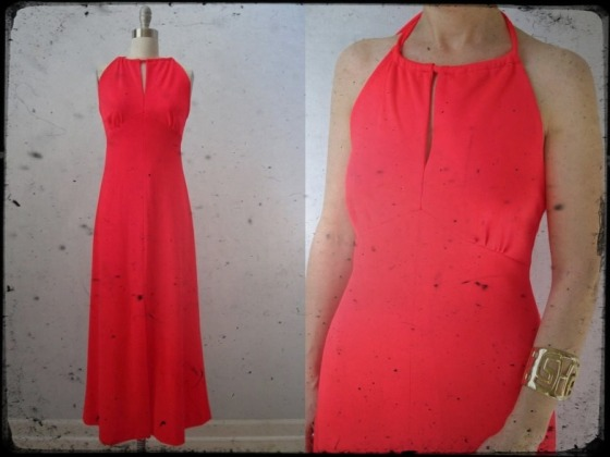 vinatge-maxi-dress-etsy-hot-coral-pink